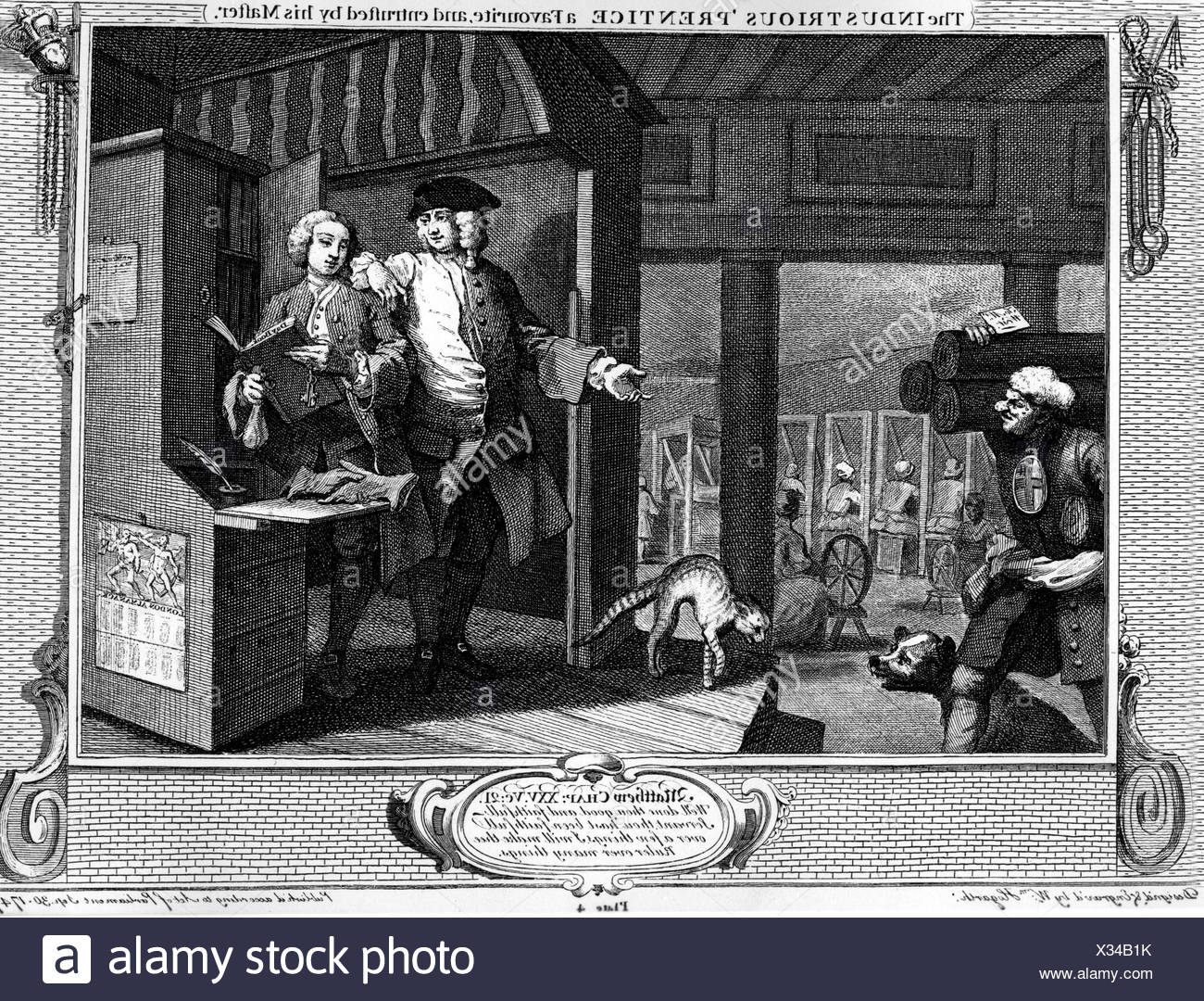 fine arts, Hogarth, William (10.11.1697 - 25.10.1764), 'The Industrious Prentice, a Favourite, and entrusted by his Master', copper engraving, 1747, Additional-Rights-Clearances-NA - Stock Image