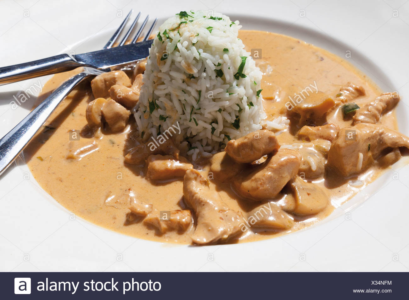 Close up of turkey meat with mushroom and boiled rice Stock Photo