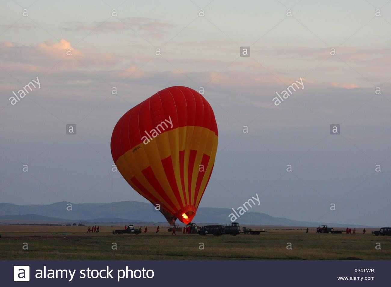 Balloon safari in the Masai Mara, Africa, Kenya, Stock Photo