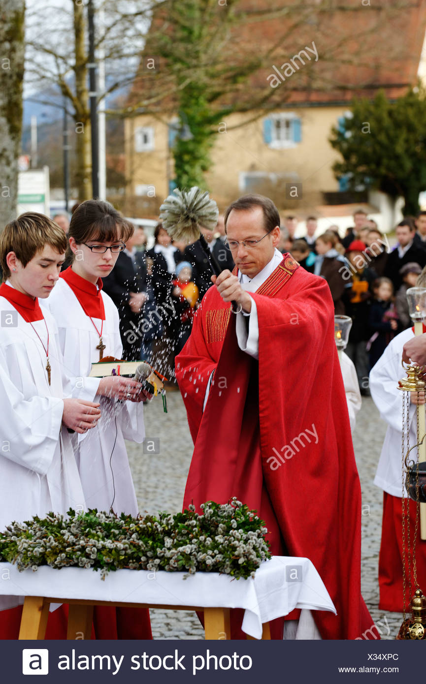 Palm Sunday procession, Bad Heilbrunn, Loisachtal, Upper Bavaria, Germany, Europe - Stock Image