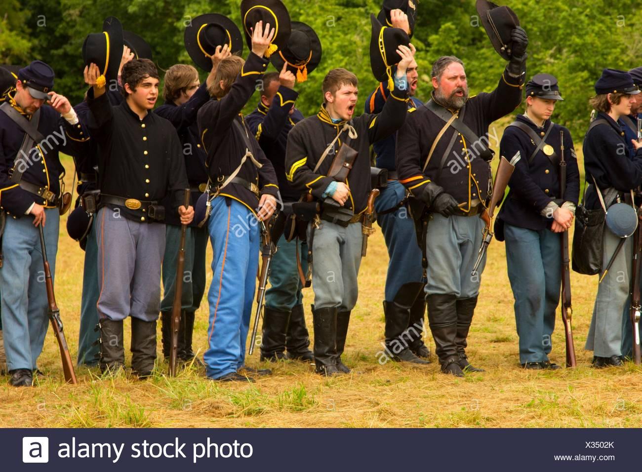 Union soldiers, Civil War Reenactment, Willamette Mission State Park, Oregon. - Stock Image