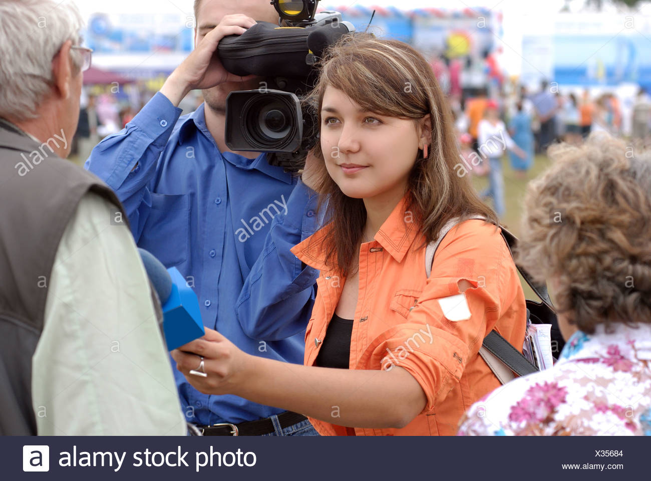 TV reporter - Stock Image
