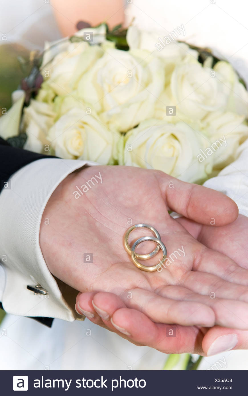 Loving Couple Showing Wedding Rings Stock Photos & Loving Couple ...