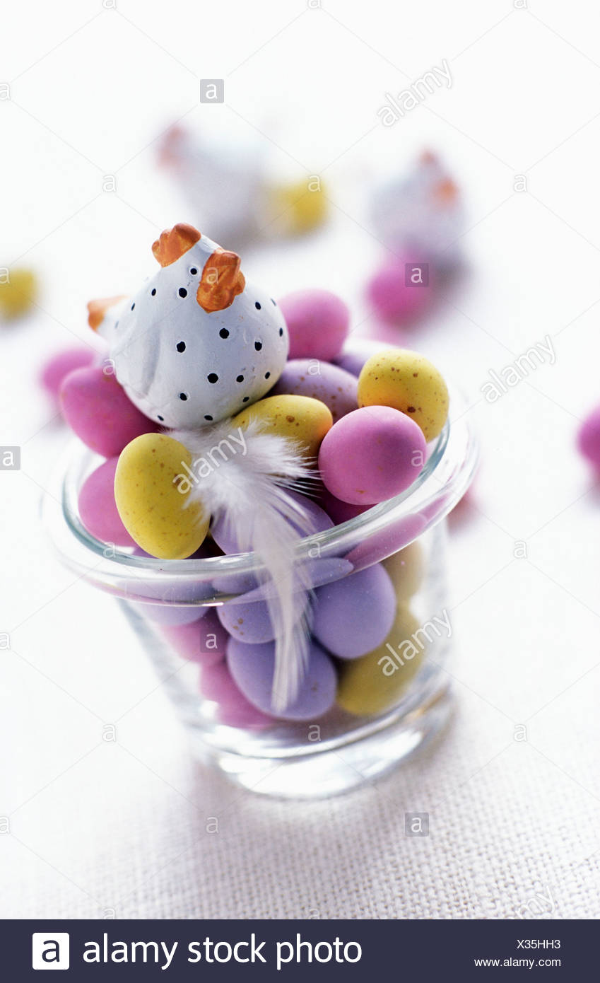 Mini Easter eggs in glass Stock Photo