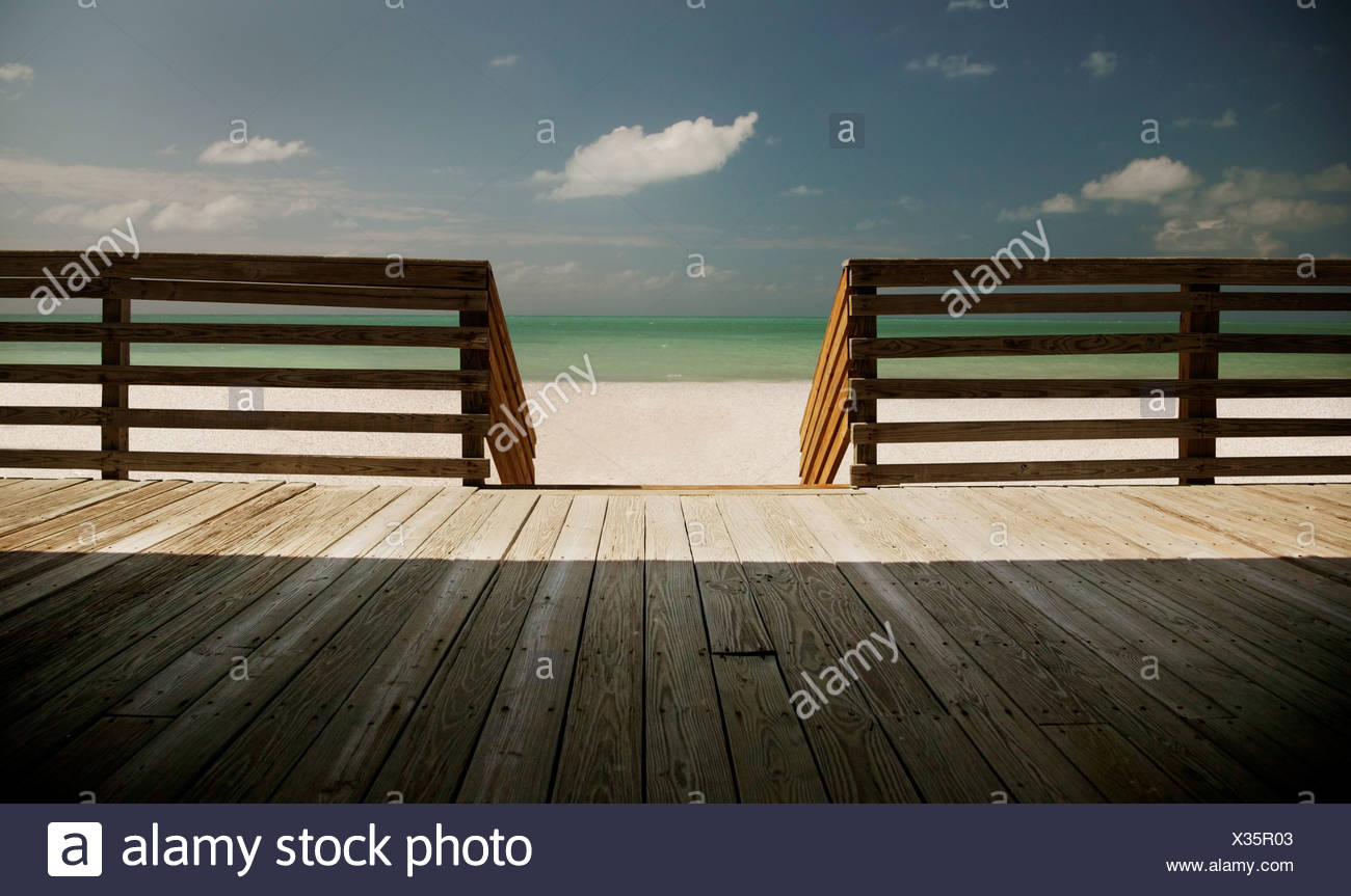 Waterfront deck - Stock Image