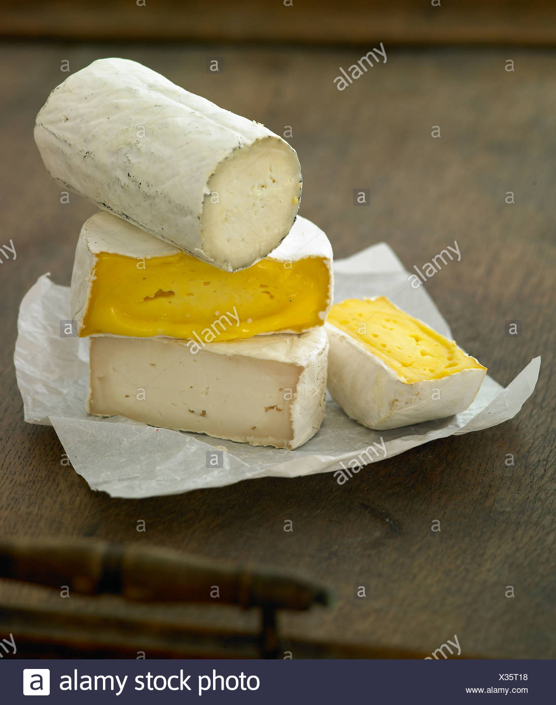Mixed Soft Cheeses - Stock Image