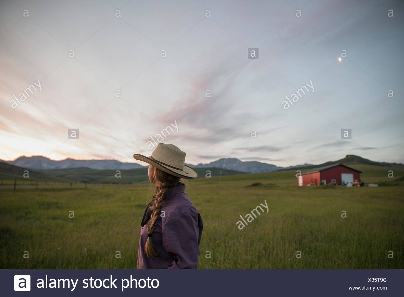 Pensive female rancher watching dramatic sunset sky field - Stock Image