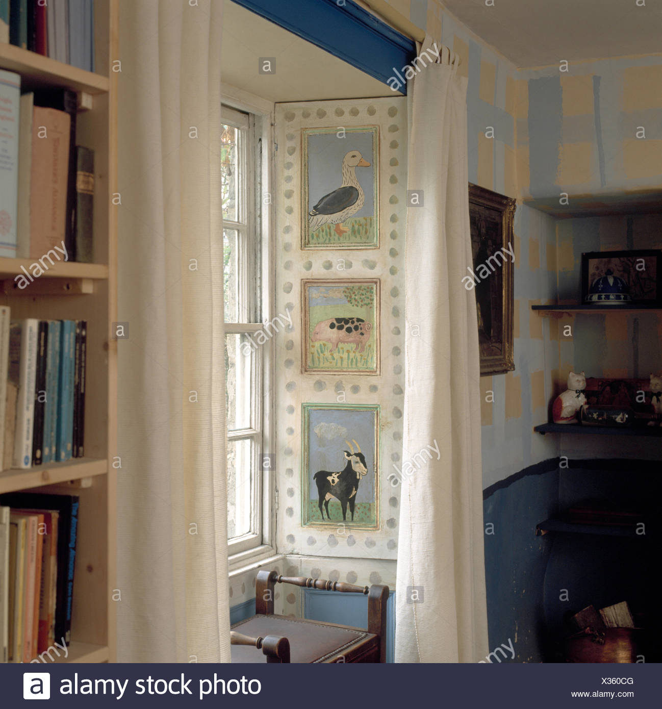 Bedroom With White Curtains On Window With Shutters Painted