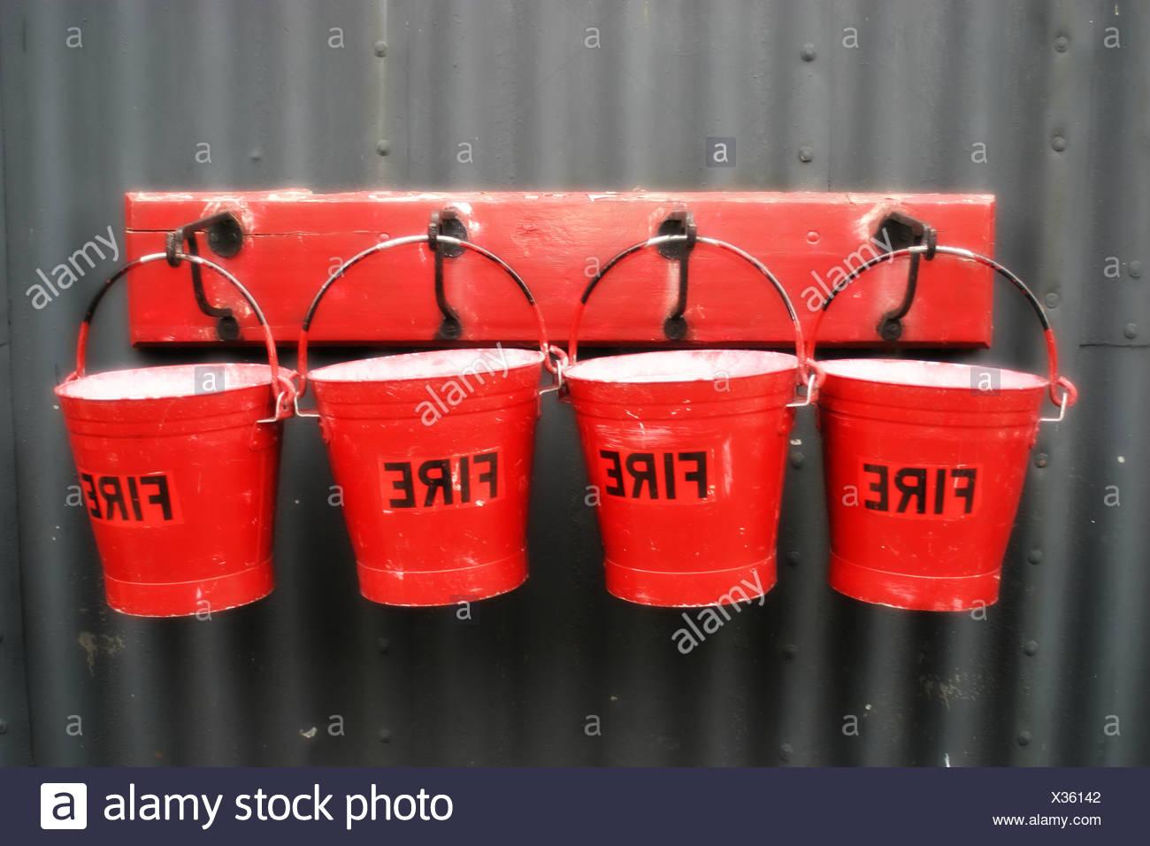 fire buckets - Stock Image