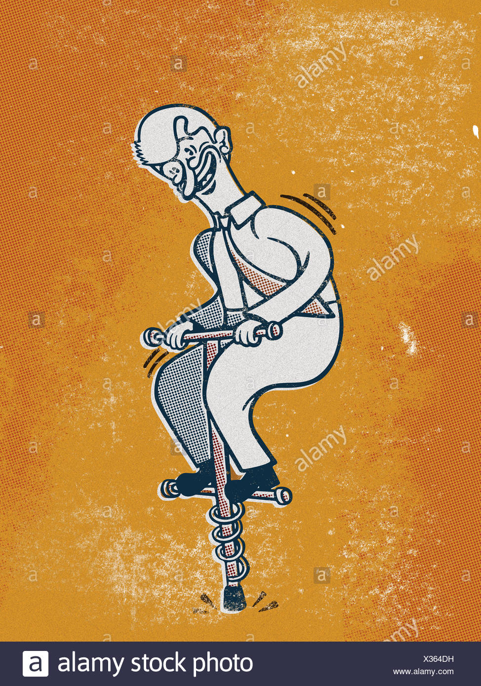 Drawing of a businessman on a pogo stick Stock Photo