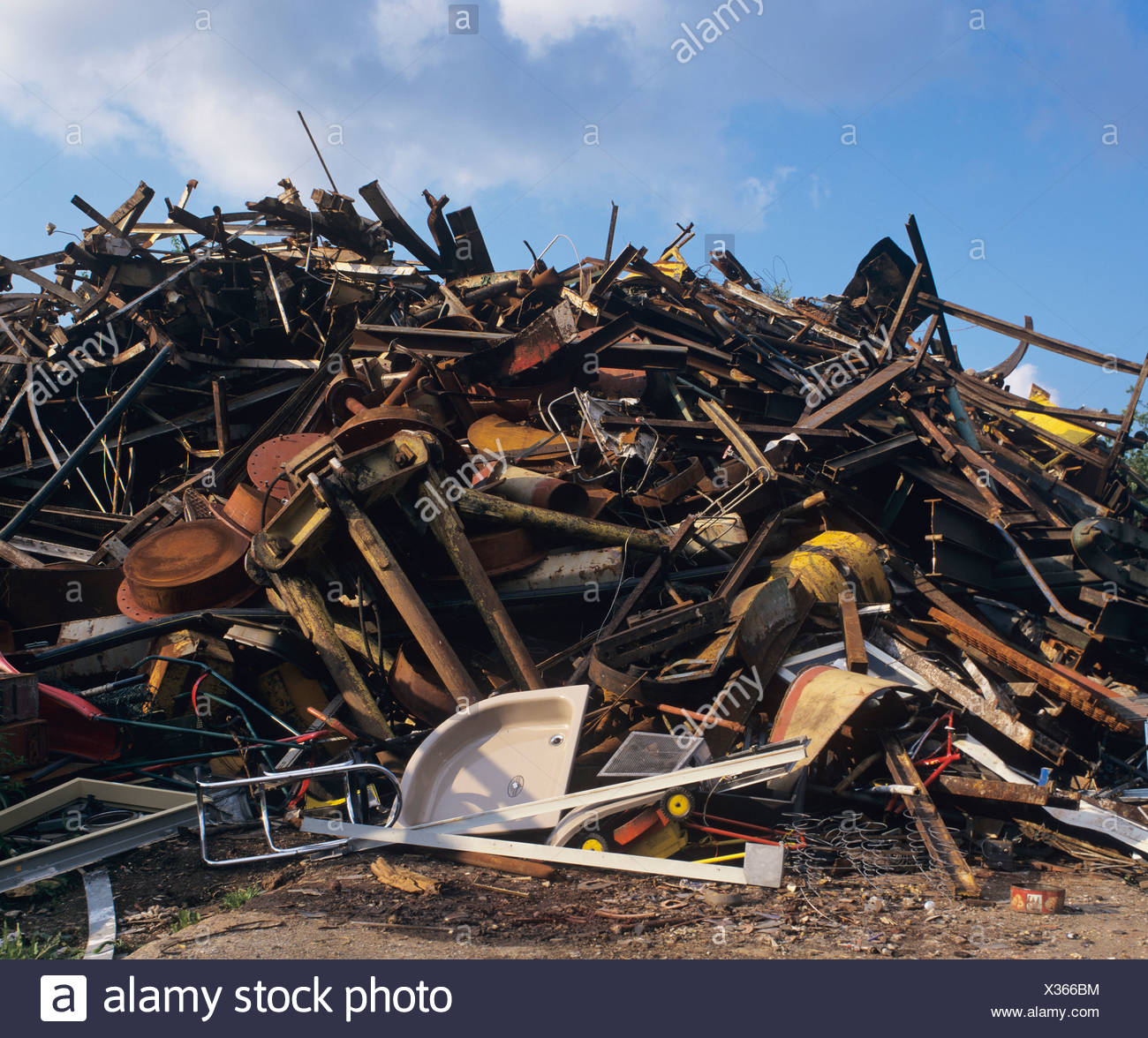 Heap of scrap metal at a waste yard, waste separation, recycling - Stock Image