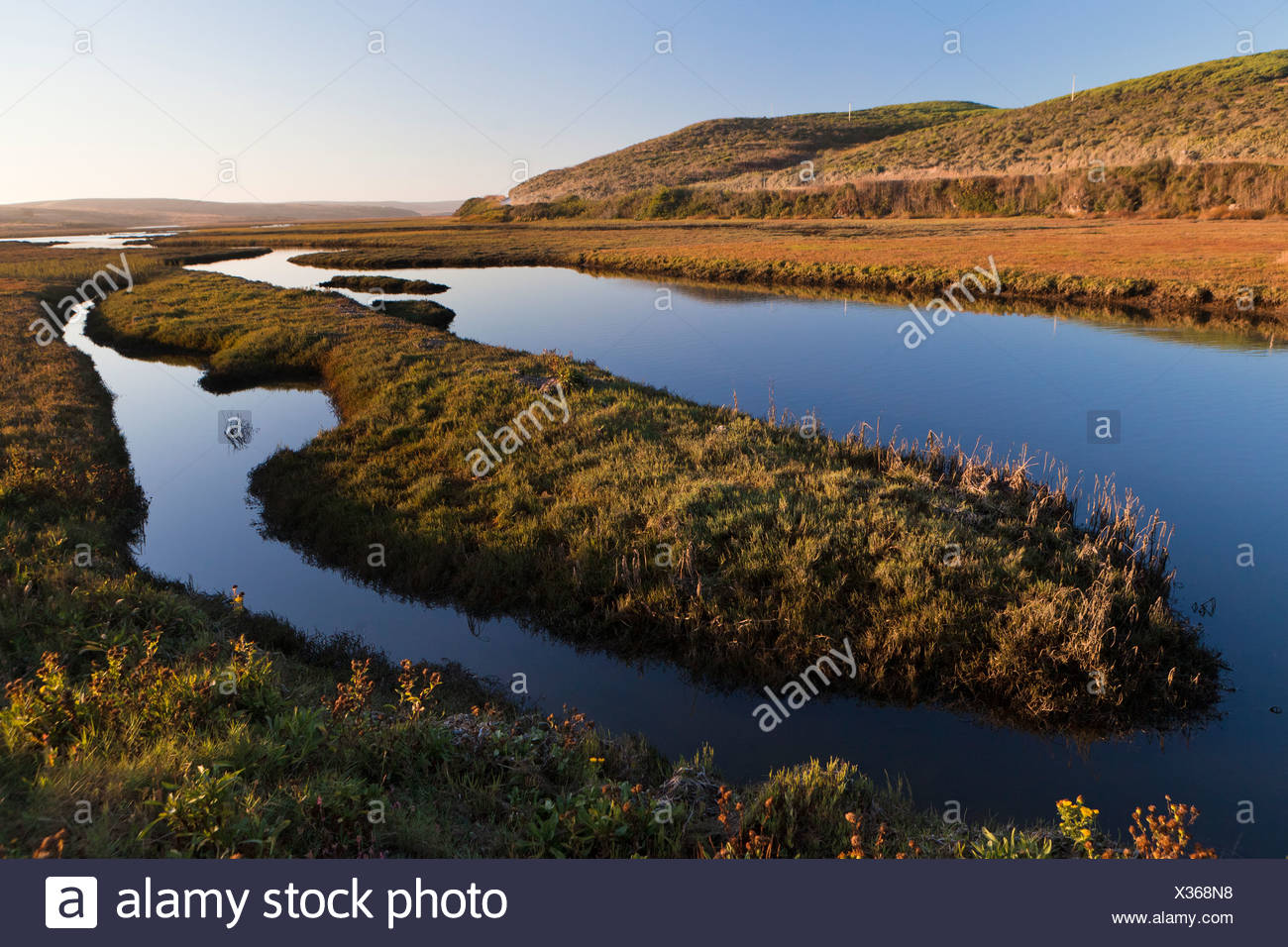 Schooner Bay, part of Drakes Estero, an estuary which drains the largest part of the Point Reyes Peninsula, Point Reyes - Stock Image