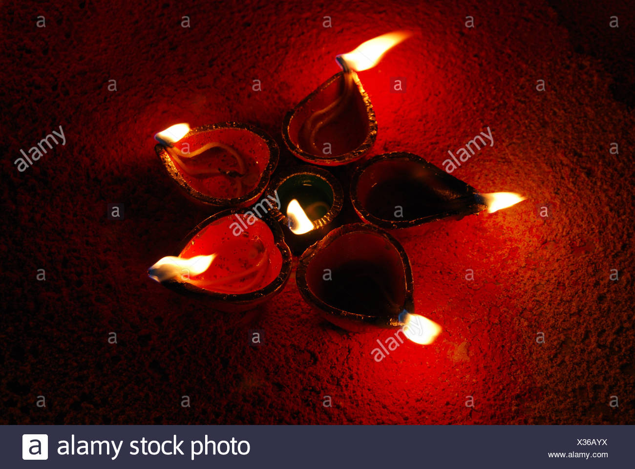 A design made by earthen lamp on the occassion of Diwali, the festival of light, India - Stock Image