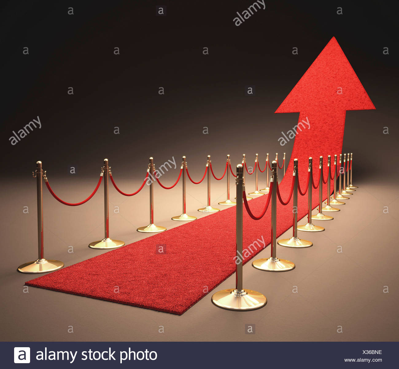 Red carpet with a red arrow pointing upwards computer artwork. - Stock Image