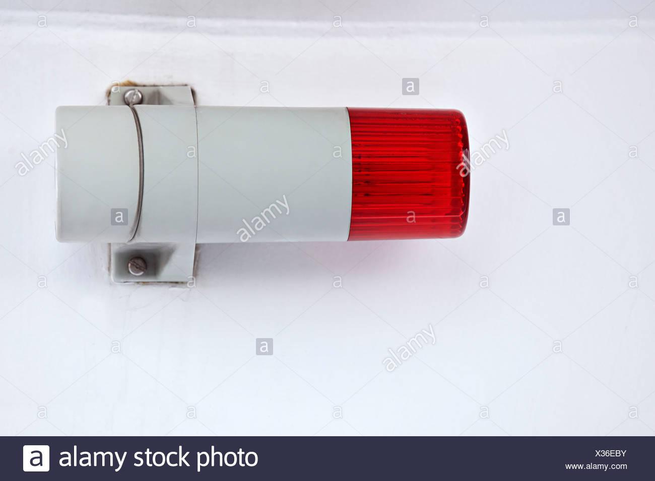 Navigation light, marker light, sidelight, shipping signal, red light on portside - Stock Image