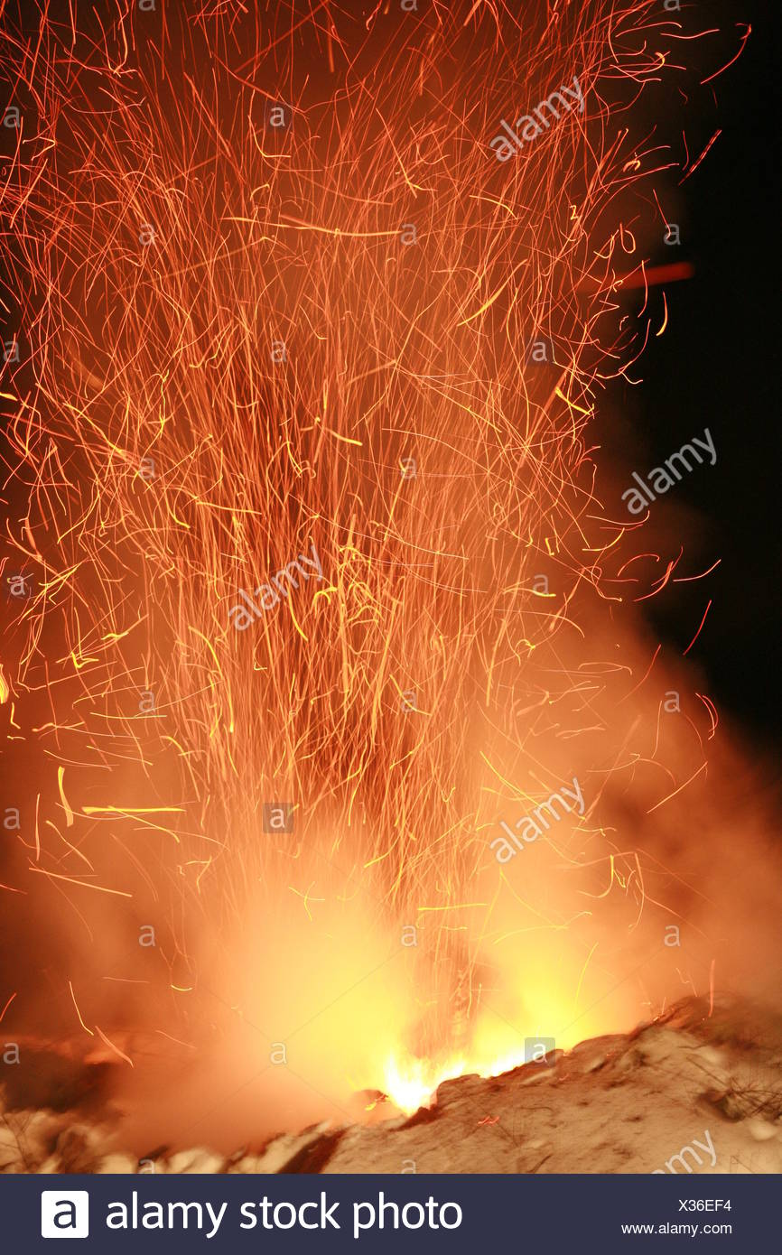 danger heat fire conflagration glow catastrophe heating natural disaster arson - Stock Image