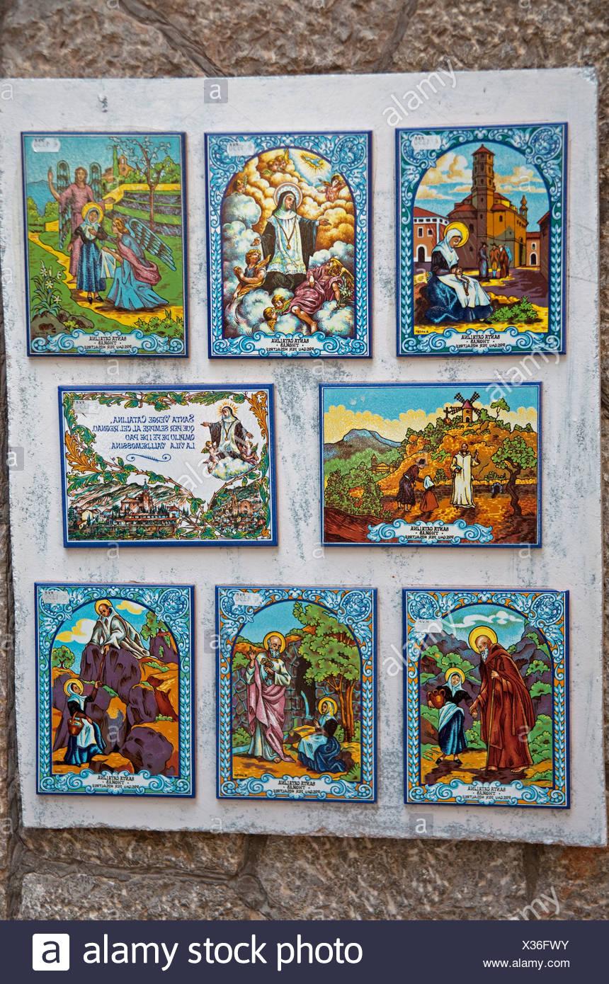Images of saints on tiles, Valldemossa, Comarca Serra de Tramuntana region, Majorca, Balearic islands, Spain, Europe Stock Photo