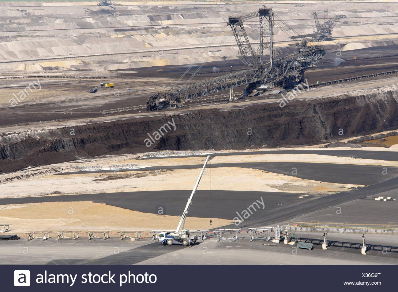 opencast,brown coal mining - Stock Image