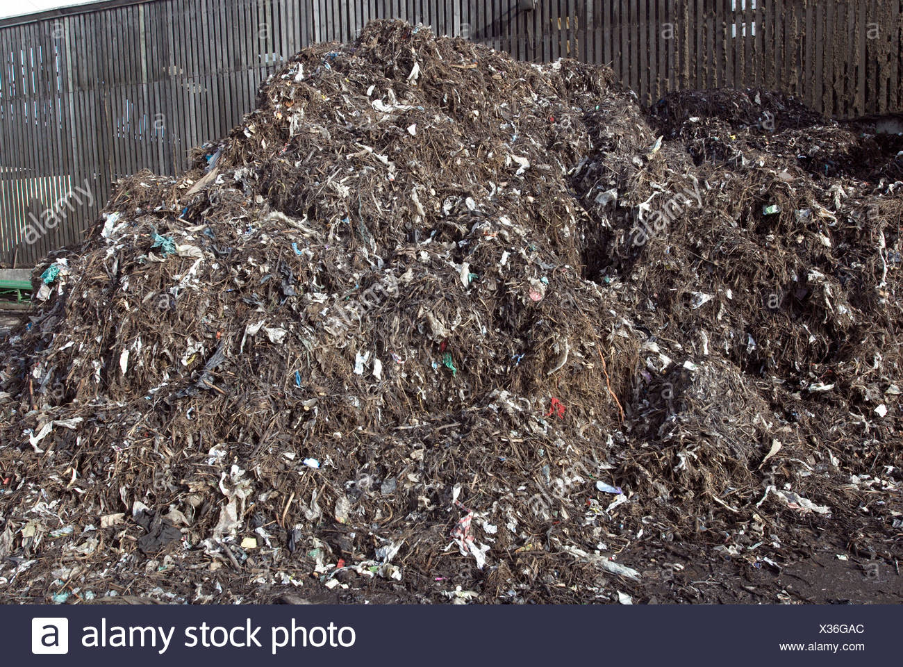 Recycled waste compost heap - Stock Image