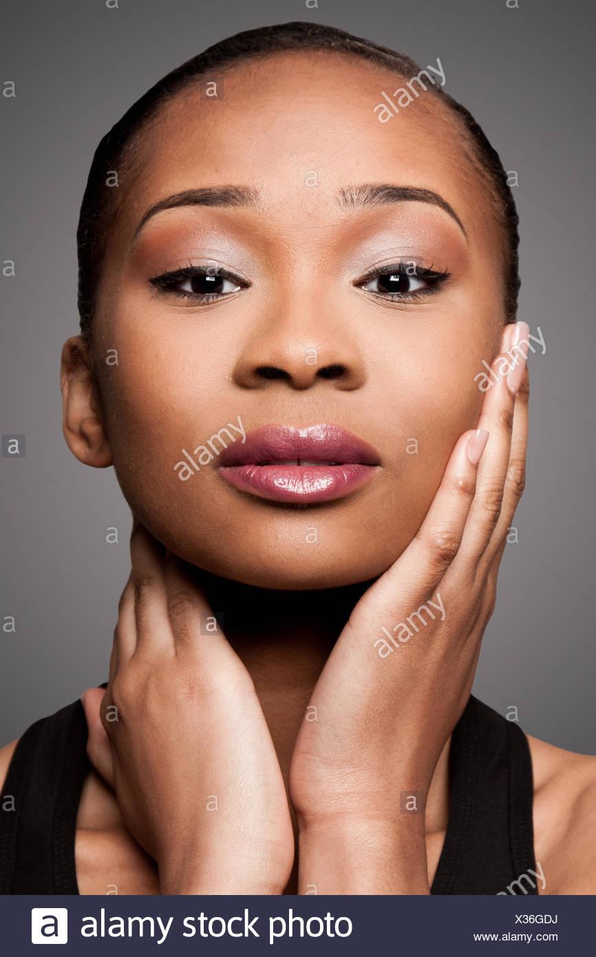 Black Asian Beauty face - Stock Image