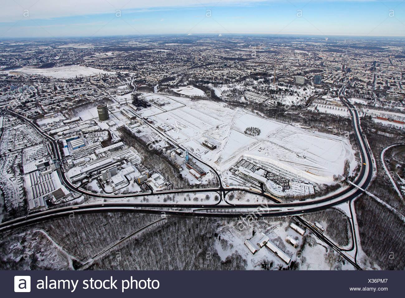Aerial view, industrial wasteland, LEG, industrial park, industrial area Phoenix West, Dortmund, Ruhrgebiet region - Stock Image