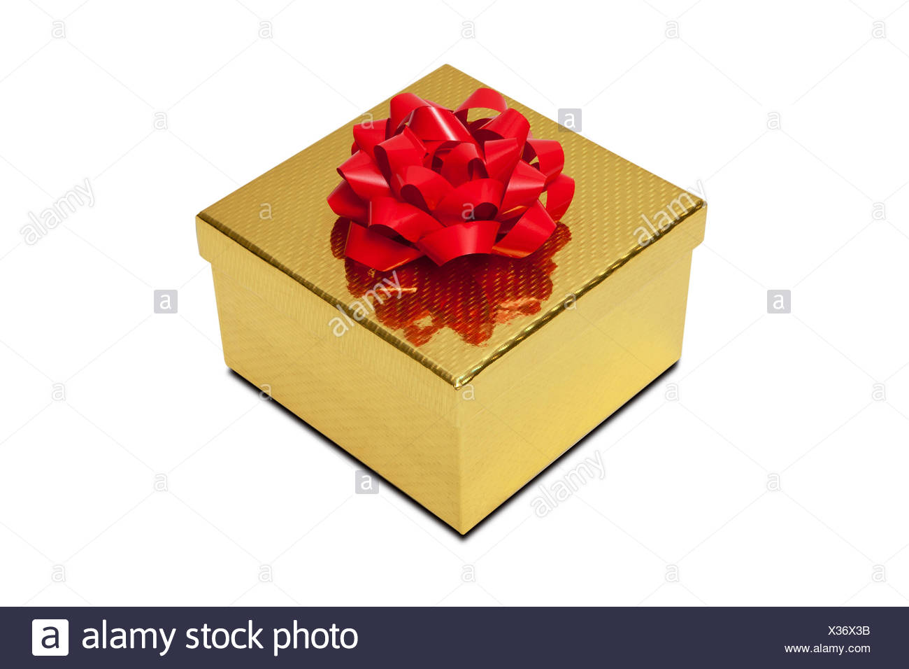 Golden gift box with red bow - Stock Image