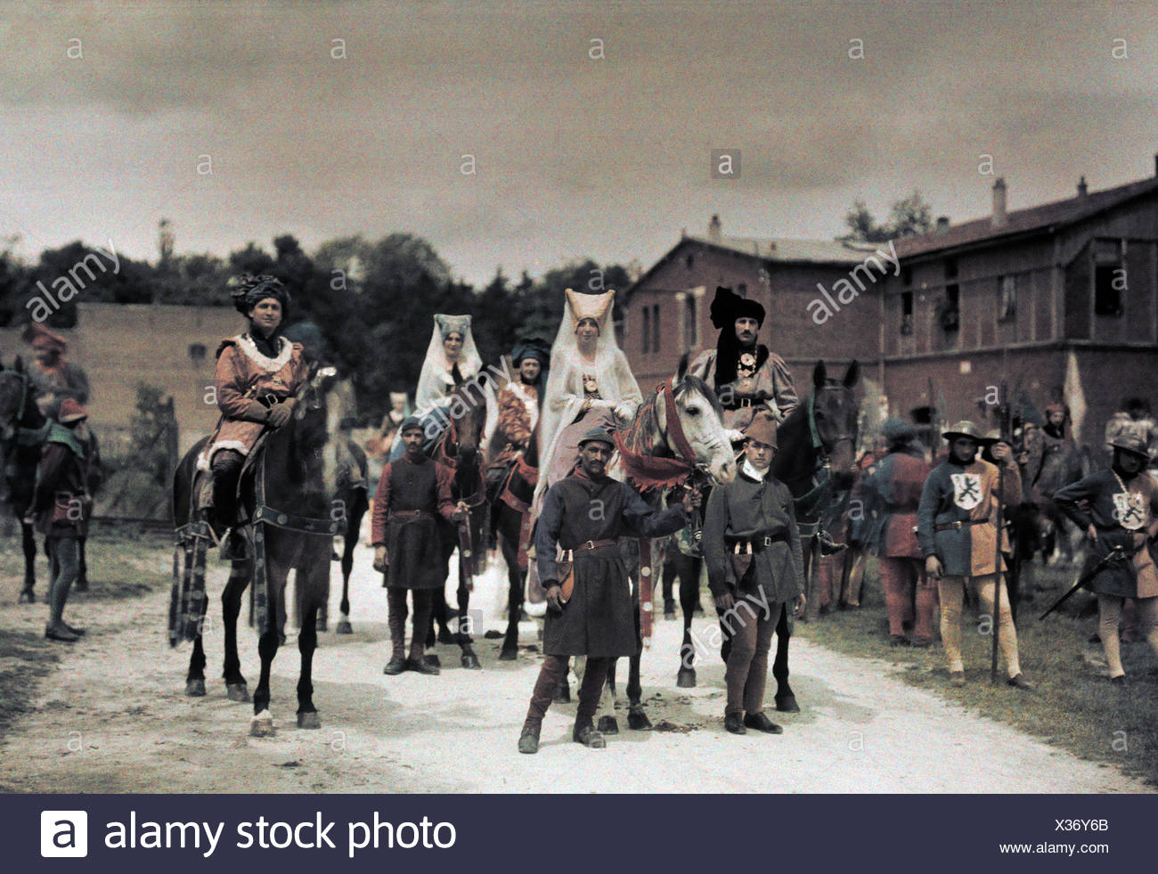 Attendees of Joan of Arc Festival conjure an image of medieval France. - Stock Image