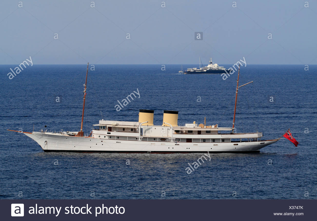 Talitha and Le Grand Bleu, two cruisers, French Riviera, France, Mediterranean Sea, Europe - Stock Image