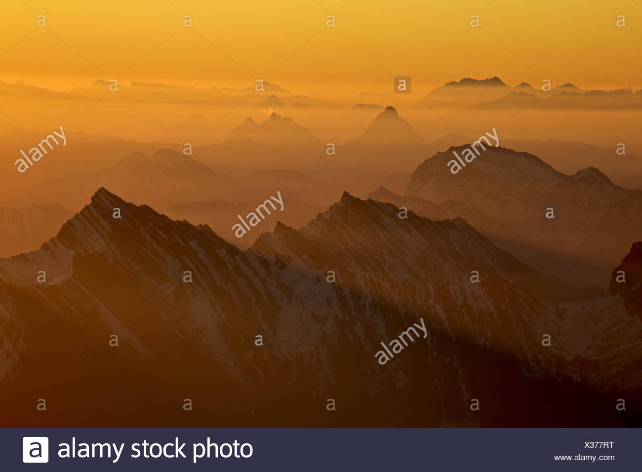 Switzerland, Appenzell, Appenzeller country, alp stone massif, Säntis, view into the direction of west, big myths, small myths, spear, - Stock Image