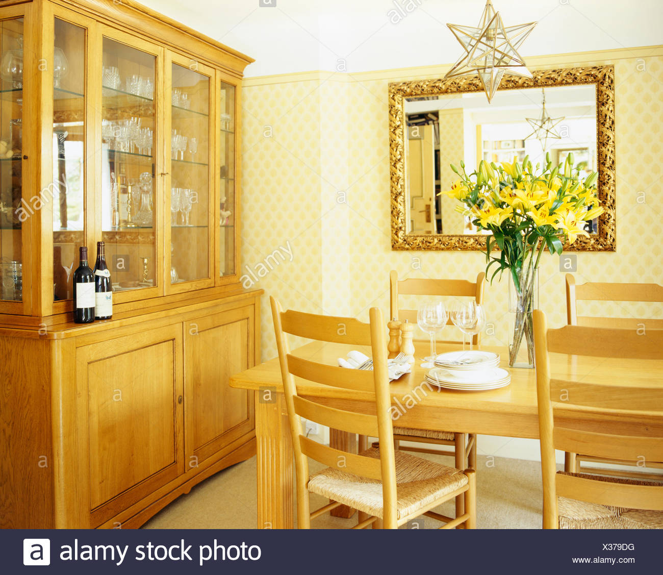 Pale Wood Dresser With Glass Doors In Cream Country Dining Room Table And