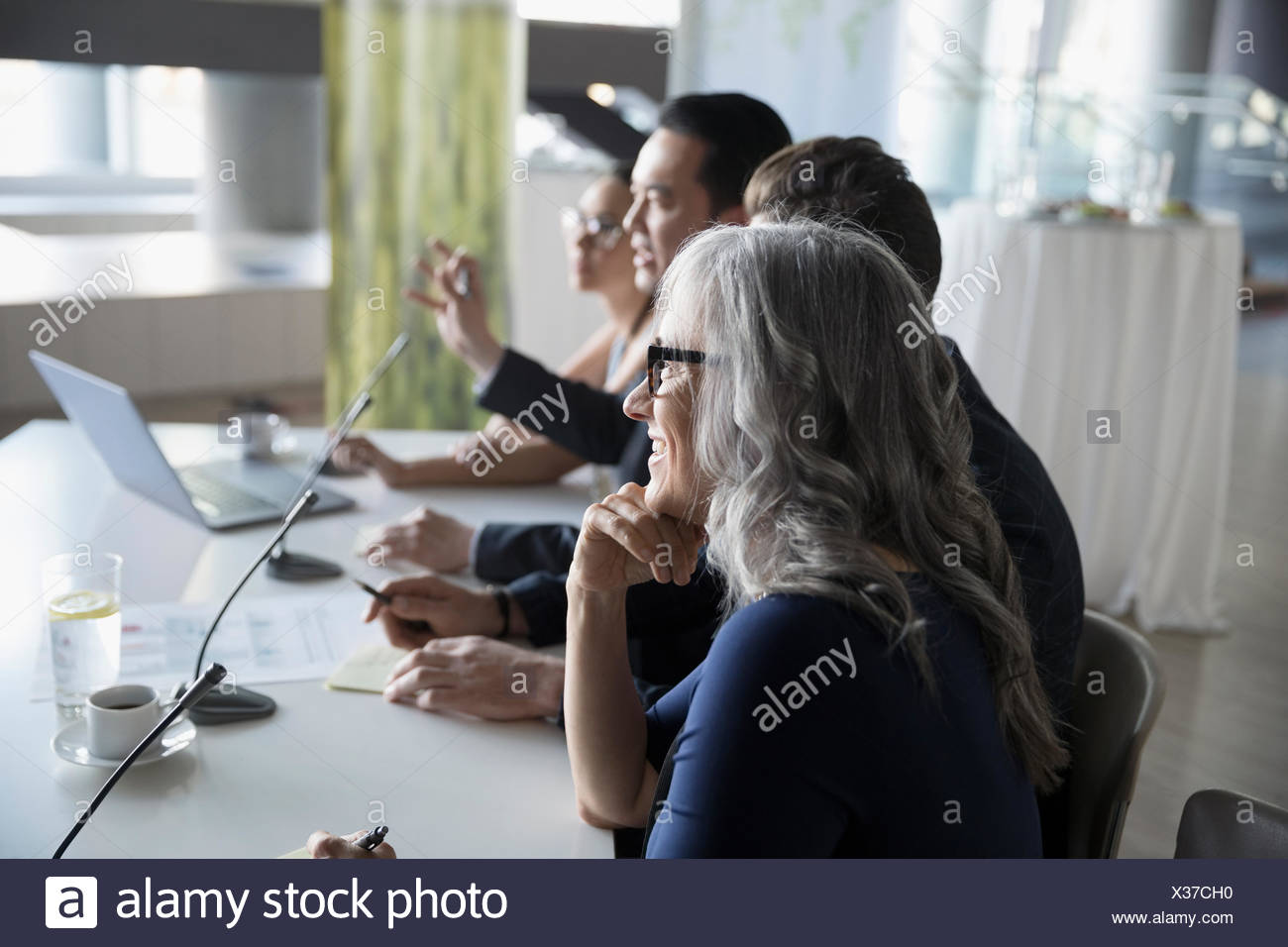 Business people on conference panel - Stock Image