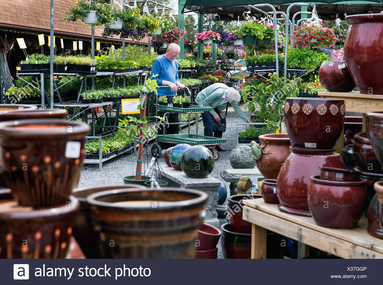 Senior couple shopping for plants at a garden center. - Stock Image