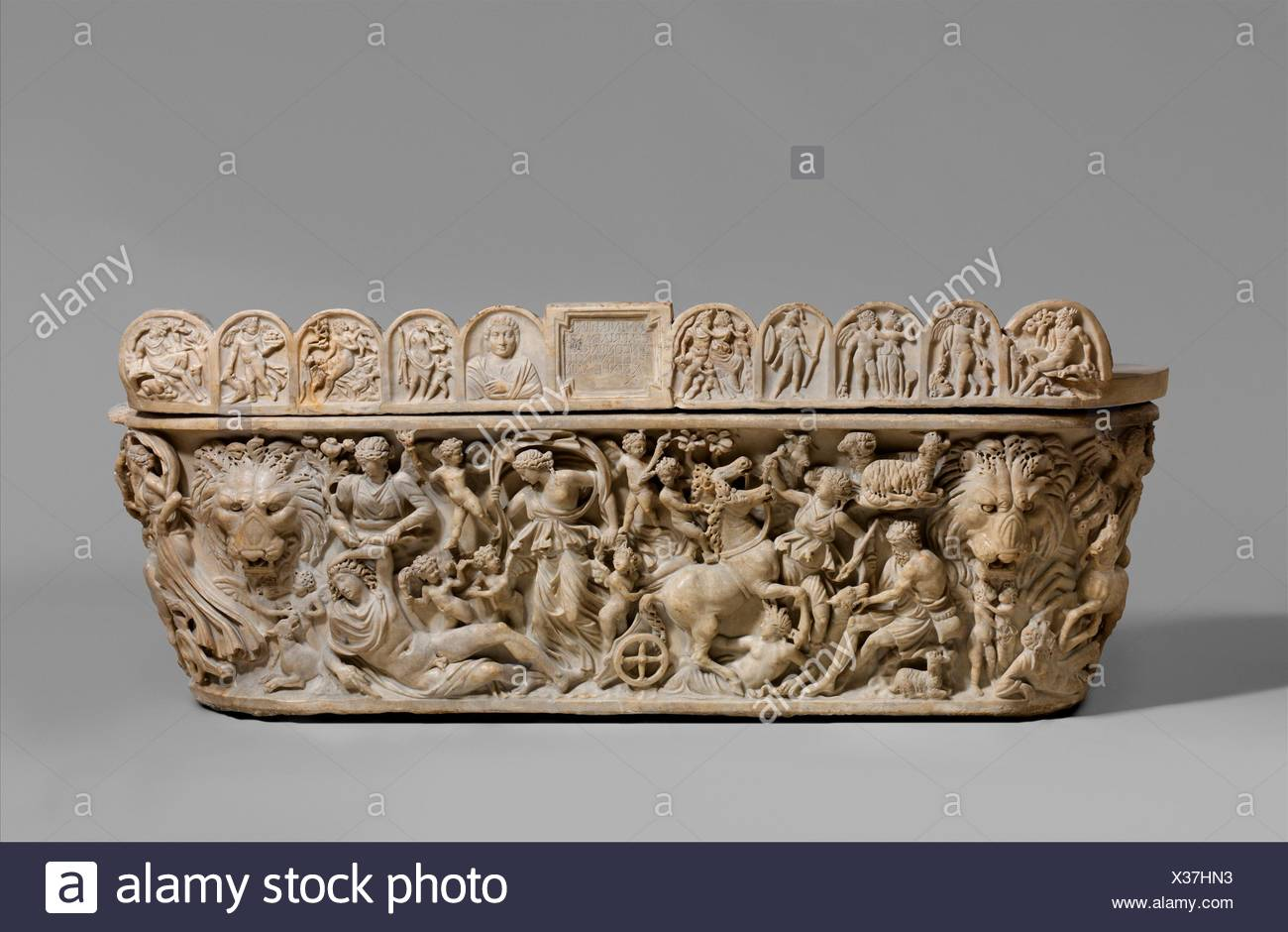 Marble sarcophagus with the myth of Selene and Endymion. Period: Severan; Date: early 3rd century A.D; Culture: Roman; Medium: Marble; Dimensions: H. - Stock Image