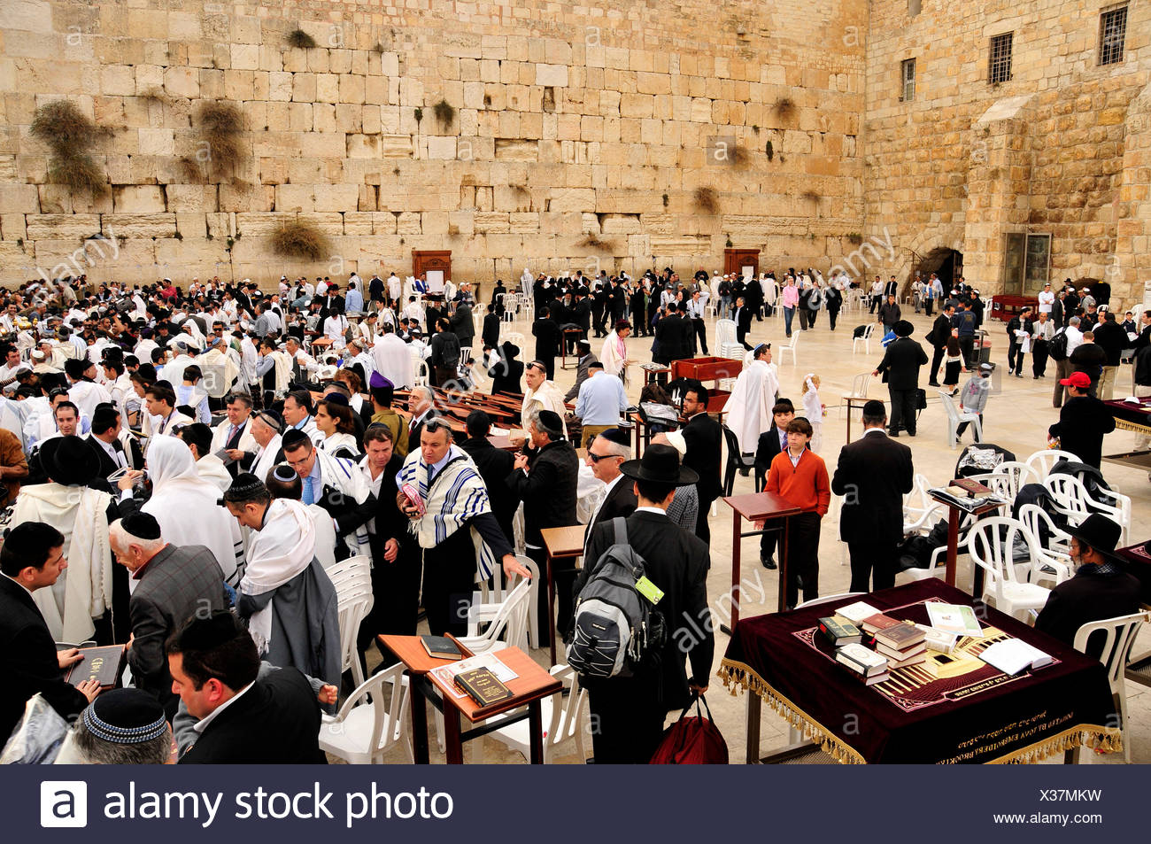 geography / travel, Israel, Jerusalem, believer Jew during prayer at the Wailing Wall, Middle East, East, Additional-Rights-Clearance-Info-Not-Available - Stock Image