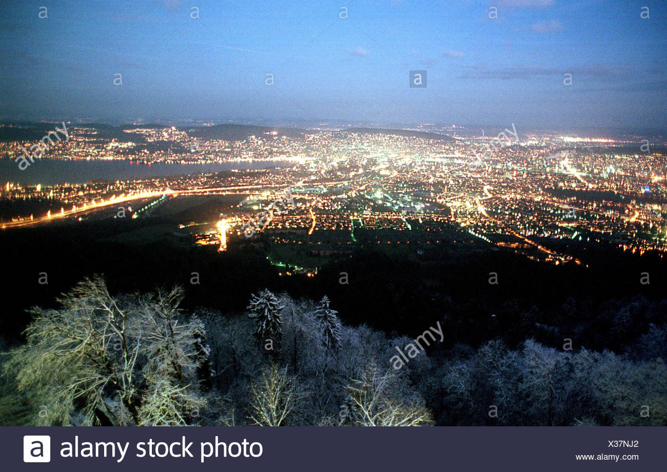 Panoramic views of evening Zurich, Switzerland - Stock Image