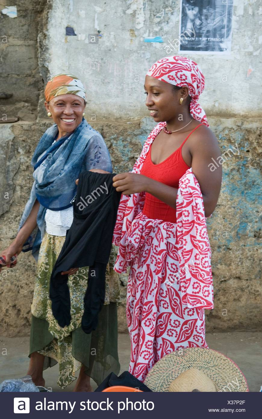 young woman and her mother, Hell-Ville Andoany, Nosy Be island, Republic of Madagascar, Indian Ocean - Stock Image