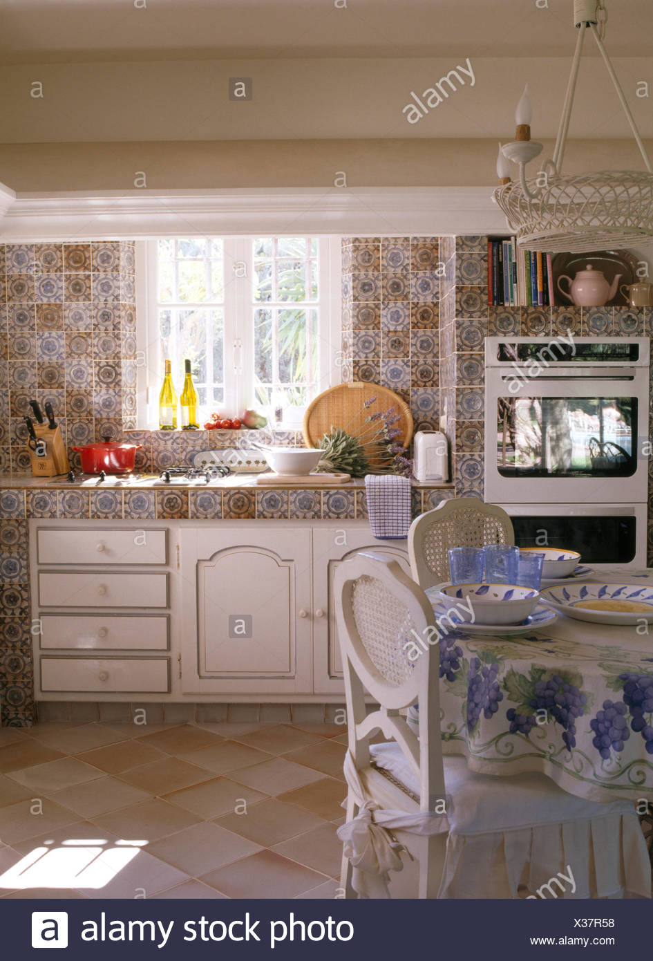 Super Patterned Wall Tiles And Worktop In French Country Kitchen Unemploymentrelief Wooden Chair Designs For Living Room Unemploymentrelieforg