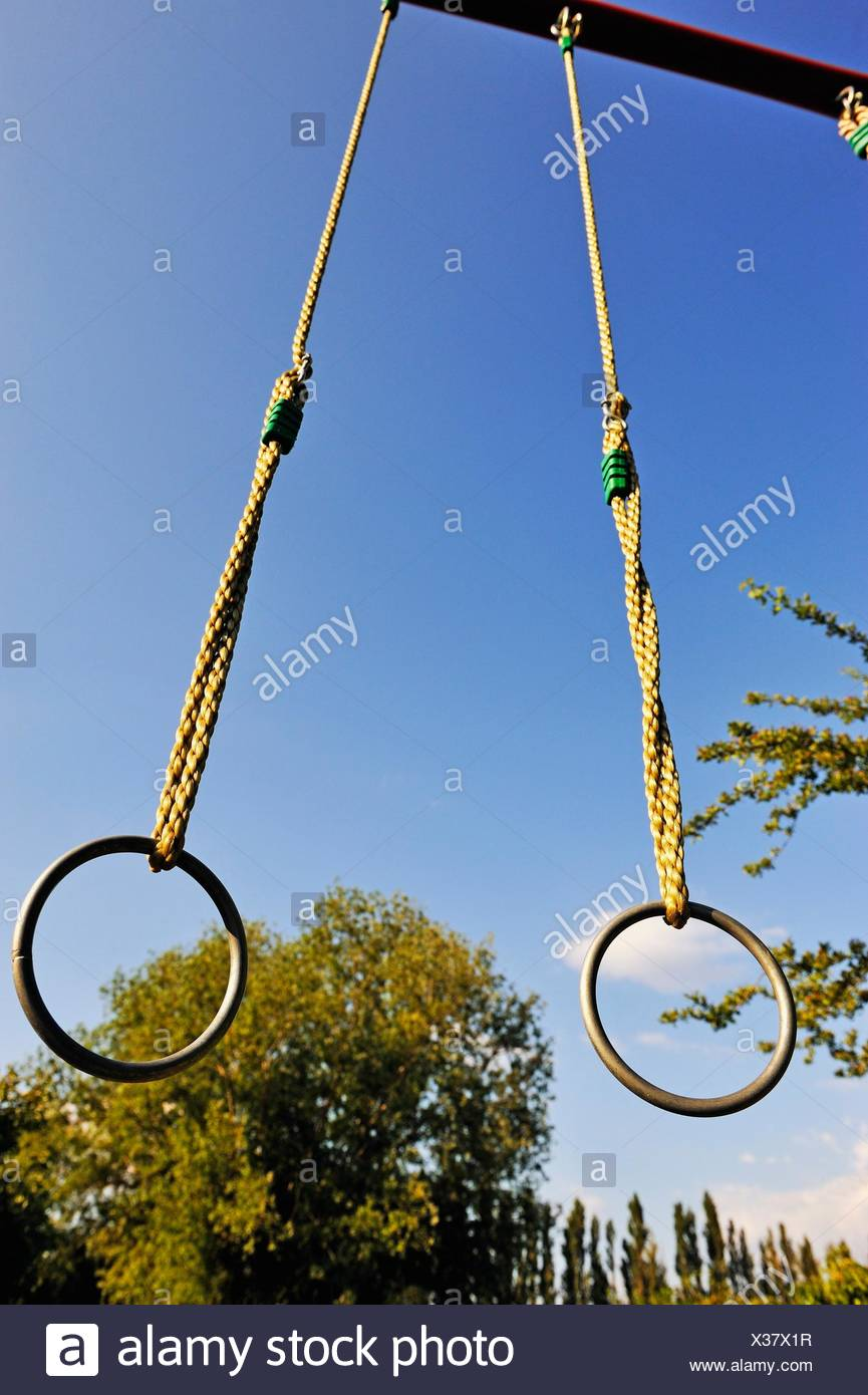 Gymnastic rings outdoors. - Stock Image