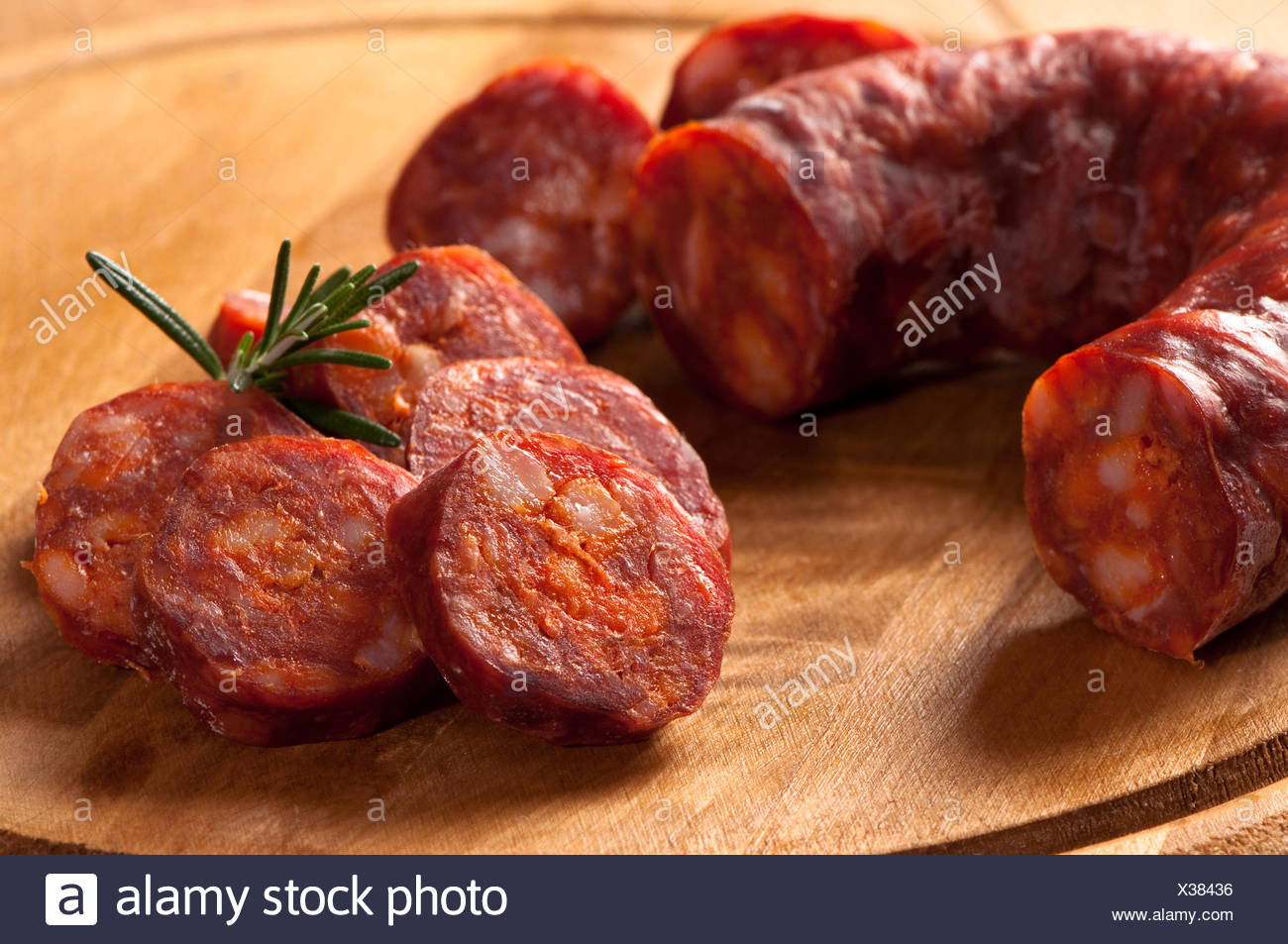 sausage sliced slices - Stock Image
