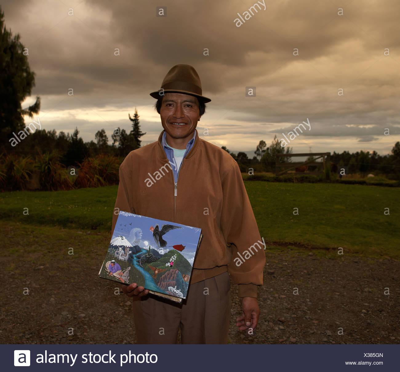 Pedro Vega ToaQuiza painter in the Andes Mountains, Ecuador - Stock Image