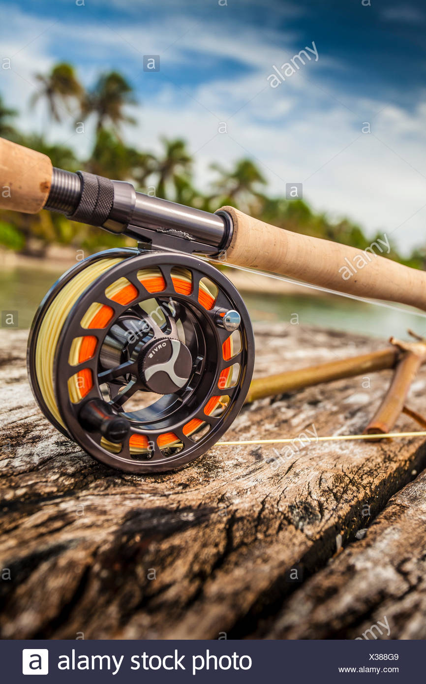 An Orvis Fly Fishing Rod On A Dock By Saltwater Fishing Area Stock