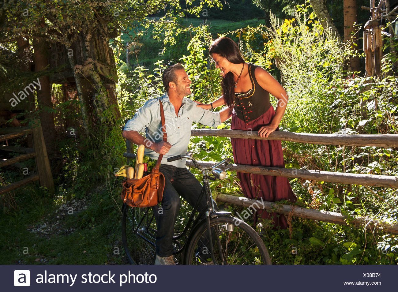 Austria Salzburg Country Mature Couple In Garden Smiling Stock