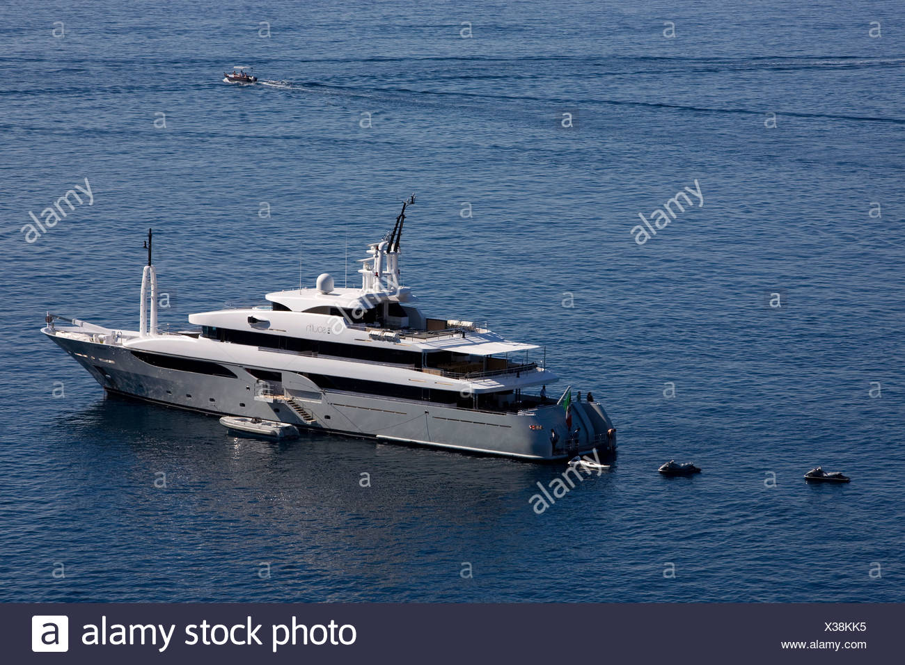 Yacht of the fashion designers Dolce & Gabbana, D & C, water sports, luxury yacht, Taormina, province of Messina, Sicily, Italy - Stock Image