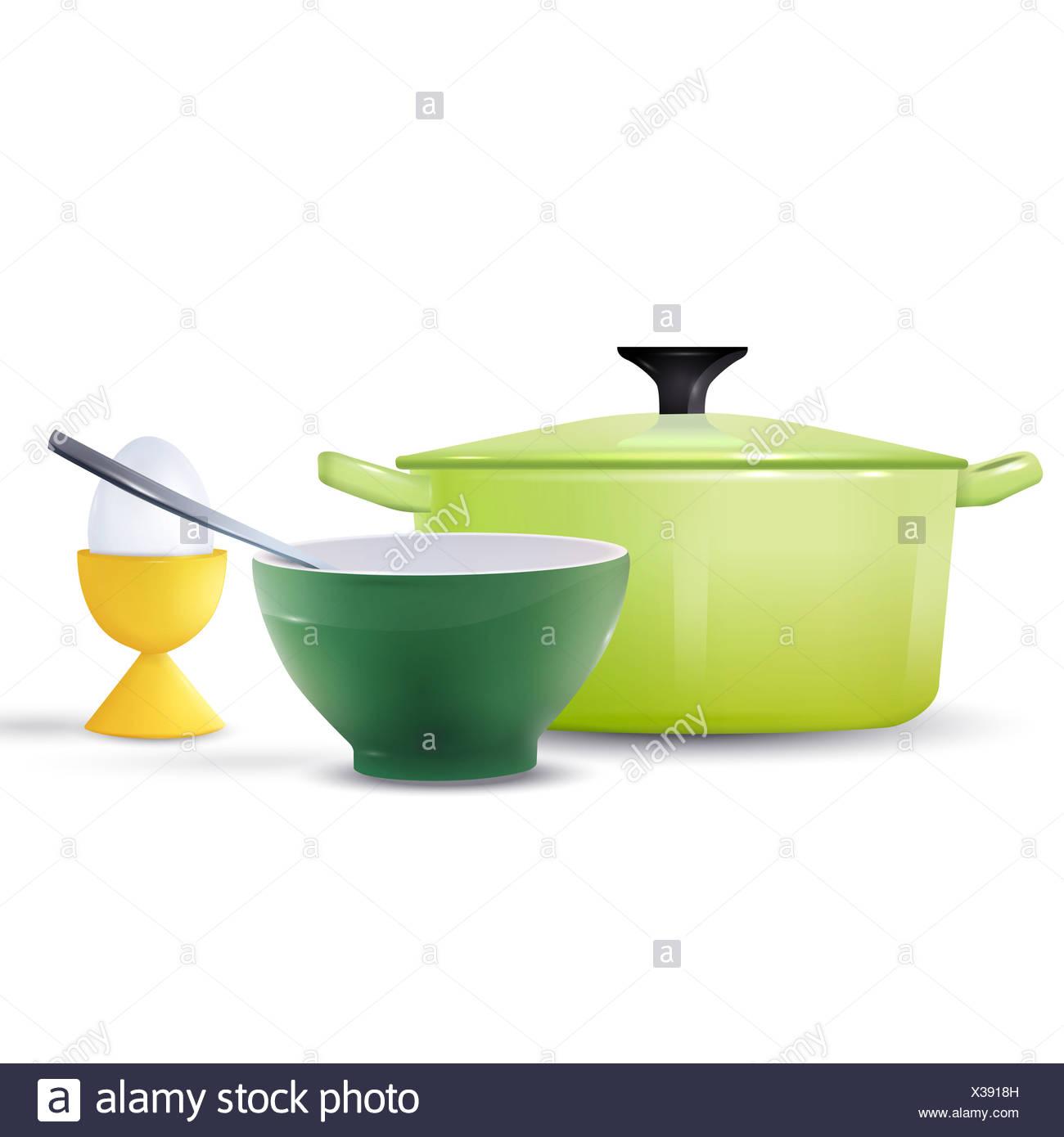 Kitchen Utensil And Egg With Egg Holder - Stock Image