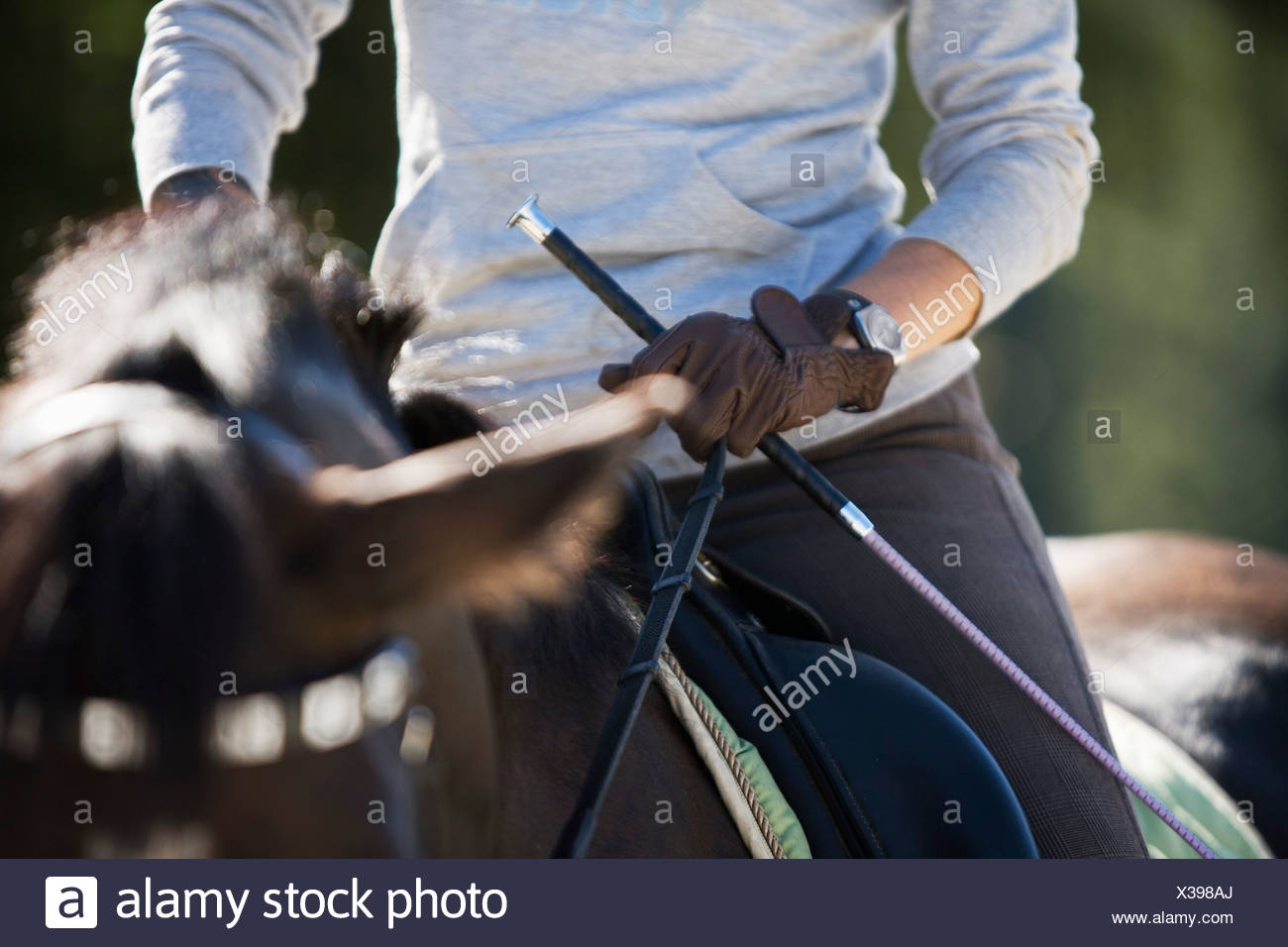 detail of woman on horse - Stock Image