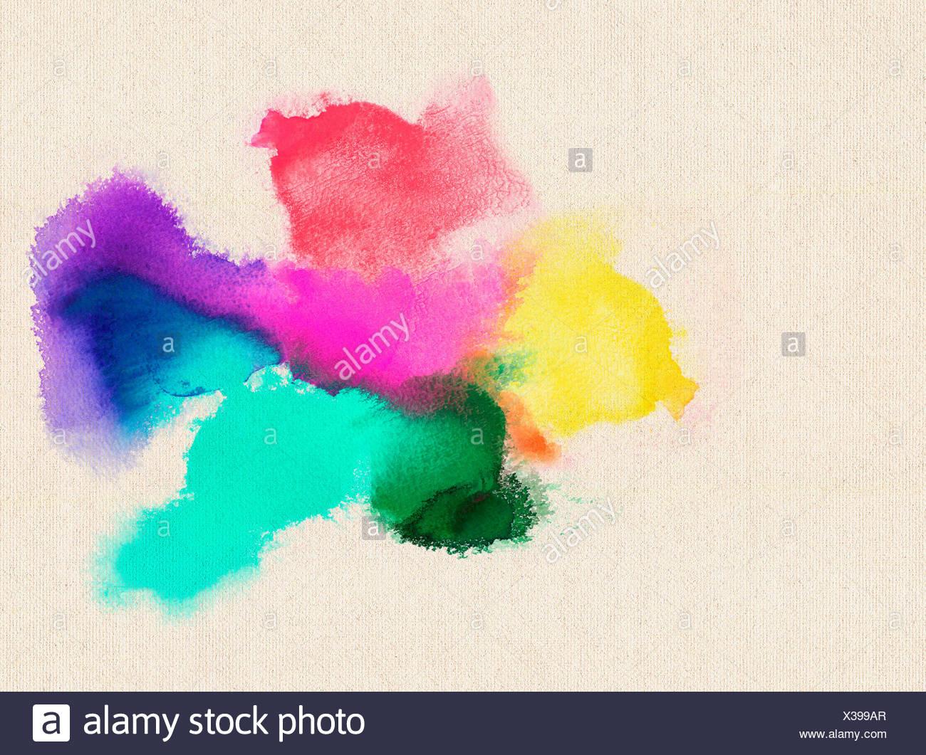 bunte lasierende acrylfarbschichten auf leinwandstruktur - Stock Image