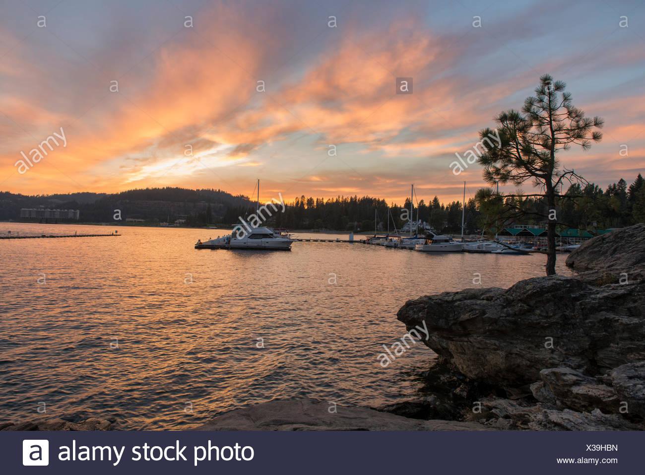 USA, United States, America, Idaho, Coeur d'Alene, shore, Rockies, rocky mountains, sunset, lakefront, evening, boats - Stock Image