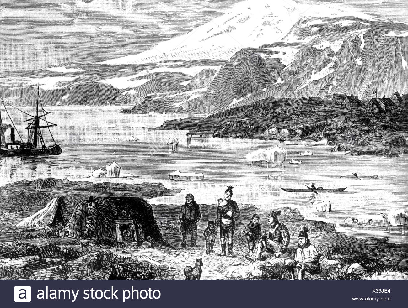 Rasmussen, Knud, 7.6.1879 - 21.12.1933, Danish Greenlandic polar explorer, Upernavik colony, west coast of Greenland, anonymous woodcut, Additional-Rights-Clearances-NA - Stock Image