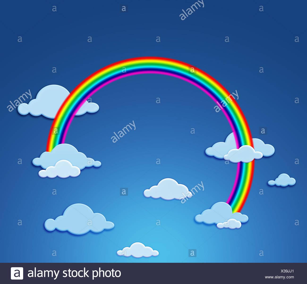 blue rainbow firmament - Stock Image