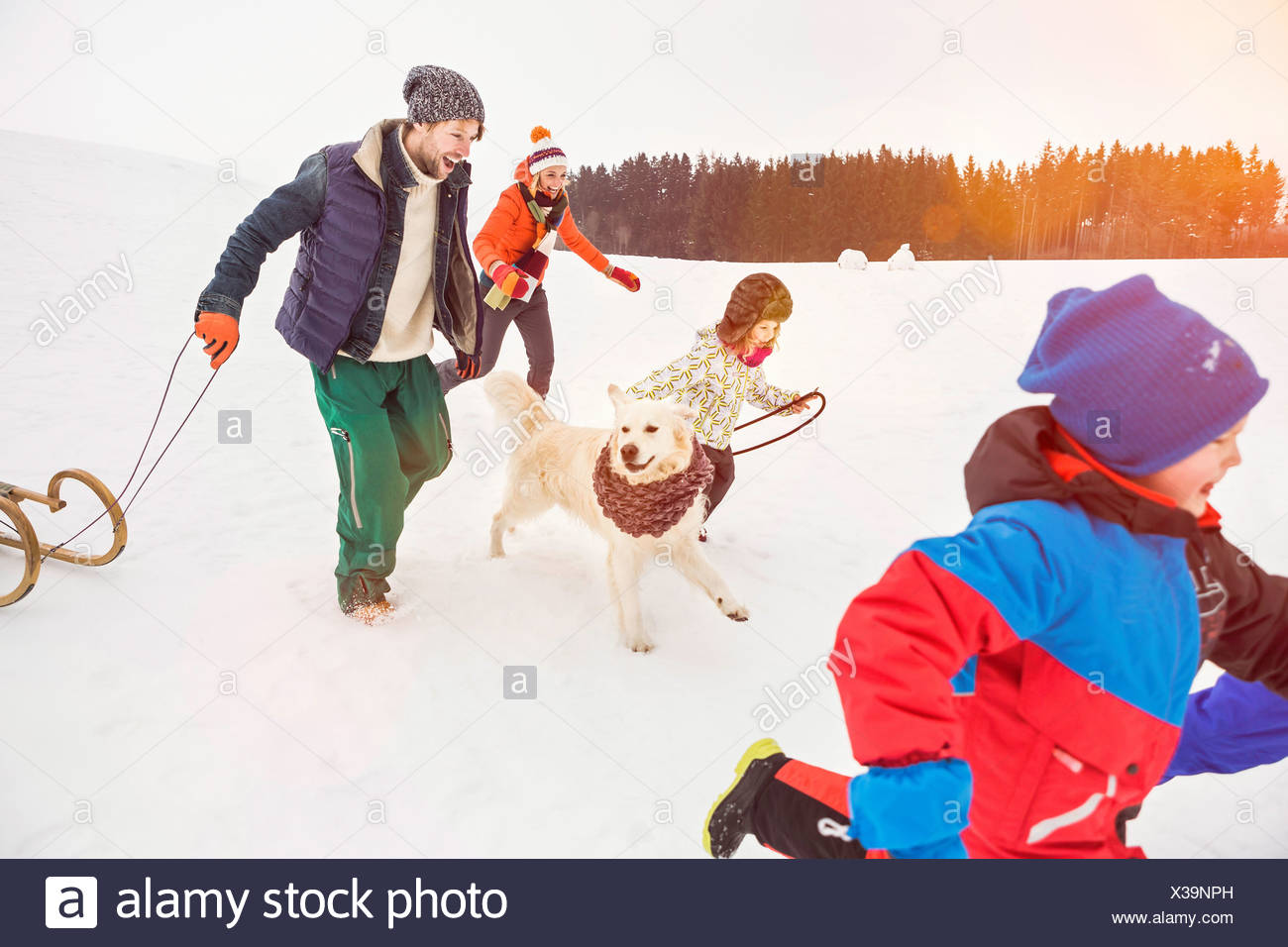 Family running in snow with dog Stock Photo
